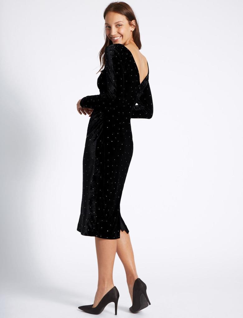 Uzun Kollu Kadife Midi Tunik Elbise