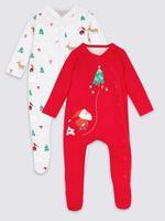 2'li Saf Pamuklu Yılbaşı Motifli Pijama Tulumu