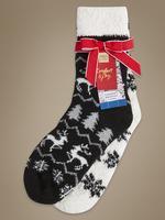 2'li Fairisle Desenli Ev Çorabı