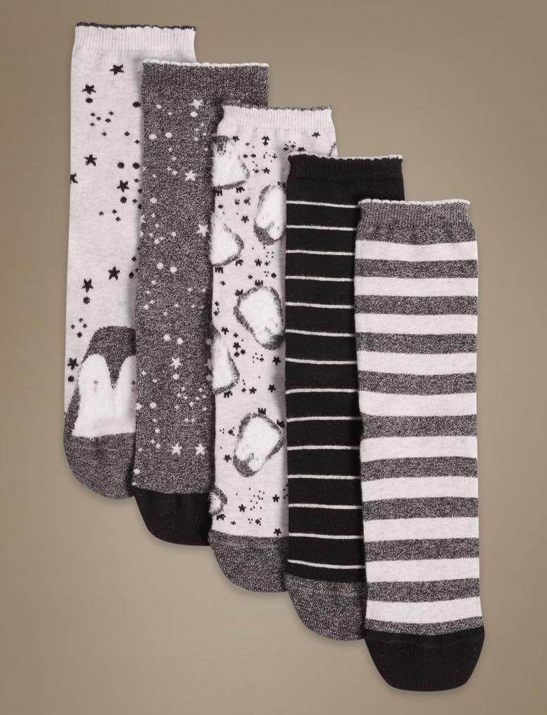 Bej 5'li Pamuklu Çorap Seti