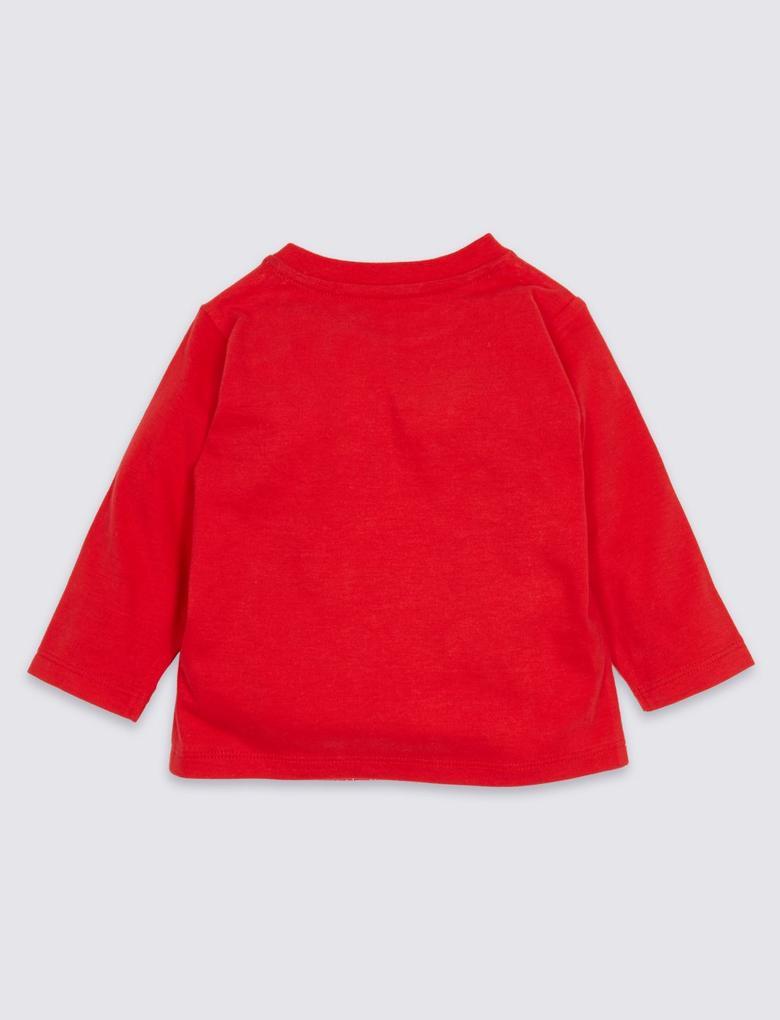 Saf Pamuklu Yılbaşı Motifli T-Shirt