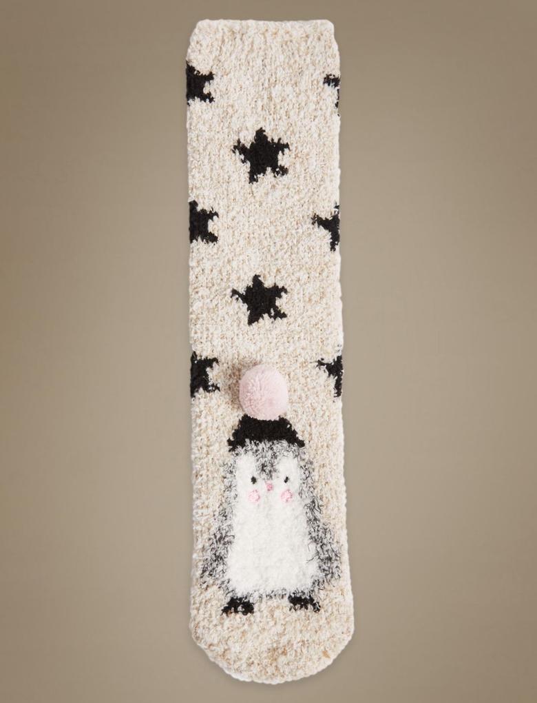 Bej Penguen Desenli Yumuşak Ev Çorabı