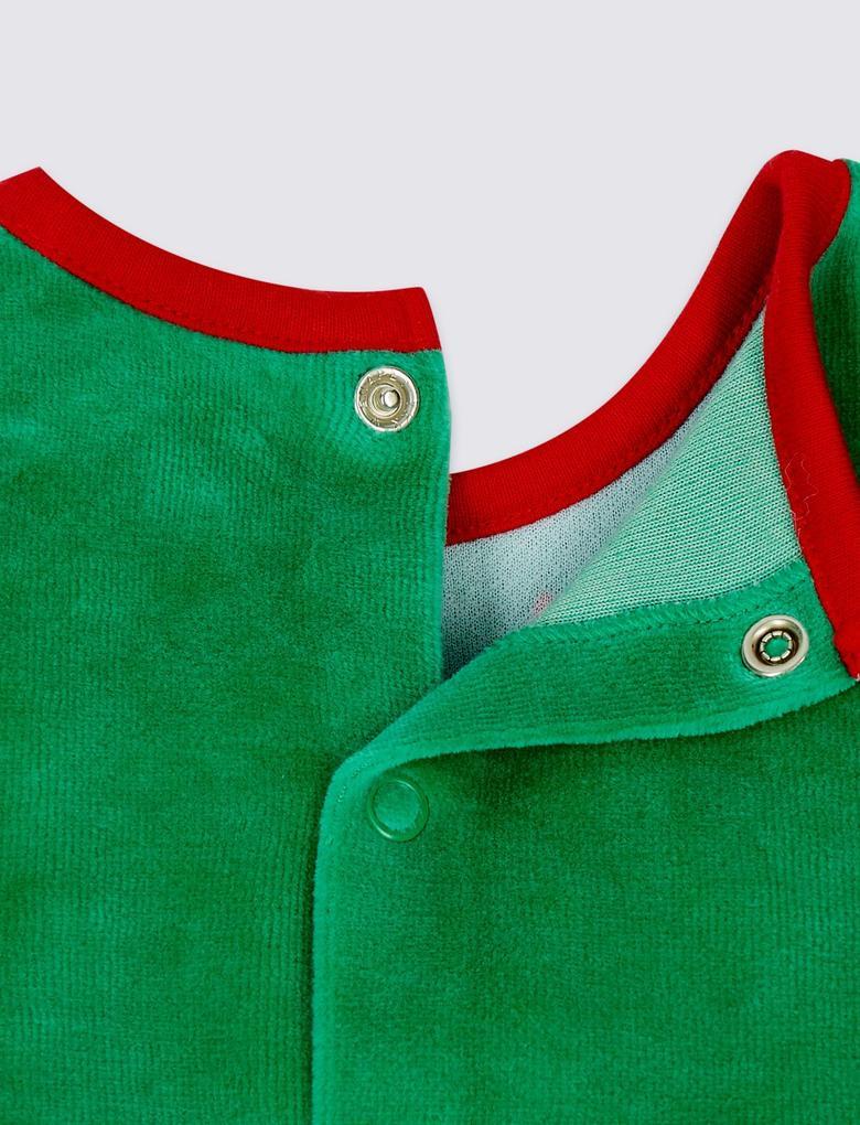 Yeşil Pamuklu Elf Tulum ve Şapka Takımı
