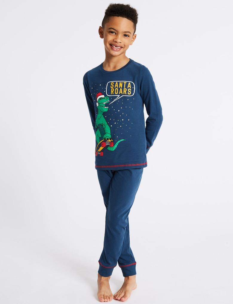 Lacivert 3'lü Pamuklu Pijama Takımı (3 - 16 Yaş)