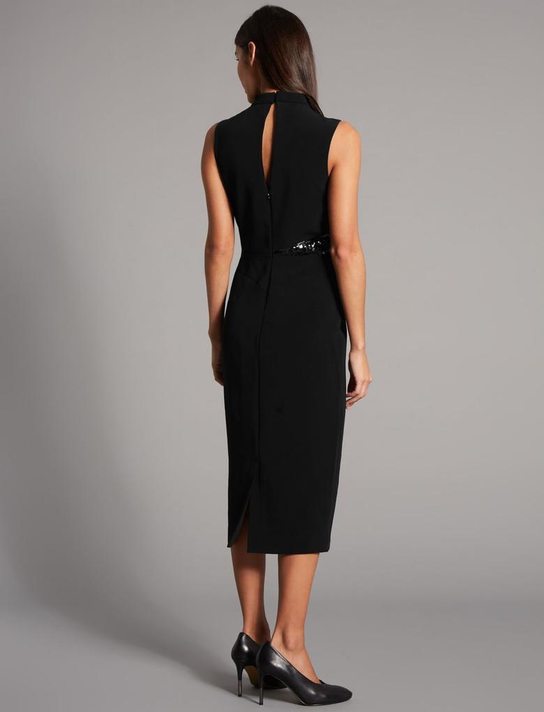 İşlemeli Kolsuz Midi Elbise