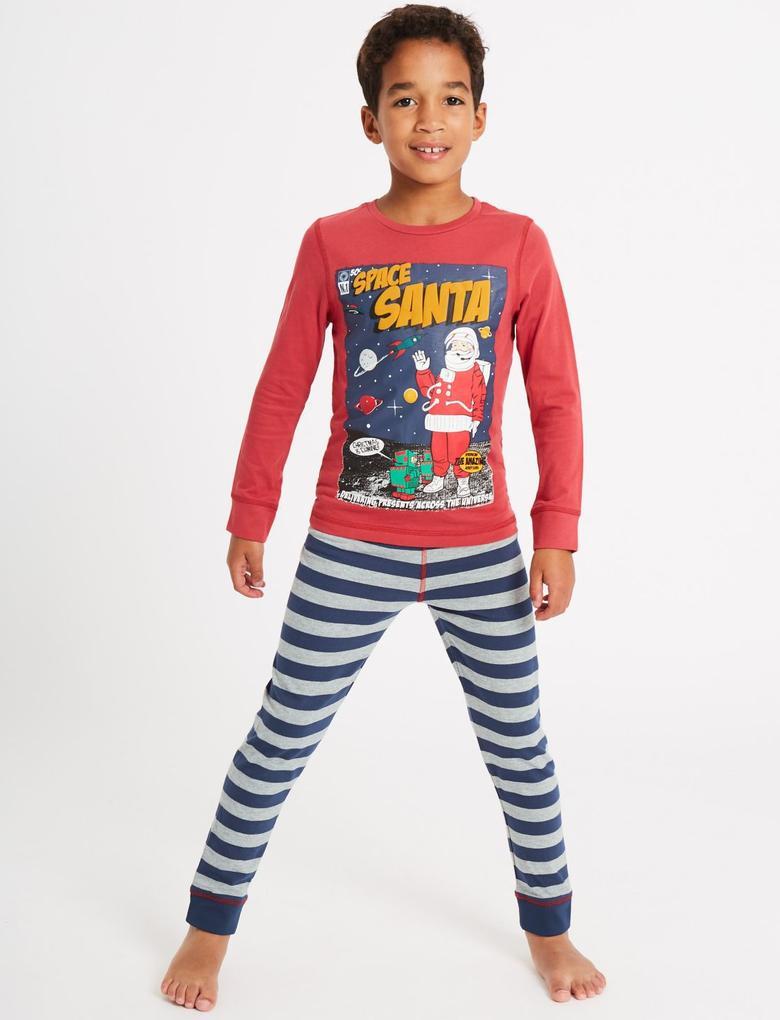 Kırmızı 2'li Desenli Pijama Takımı (3 - 16 Yaş)