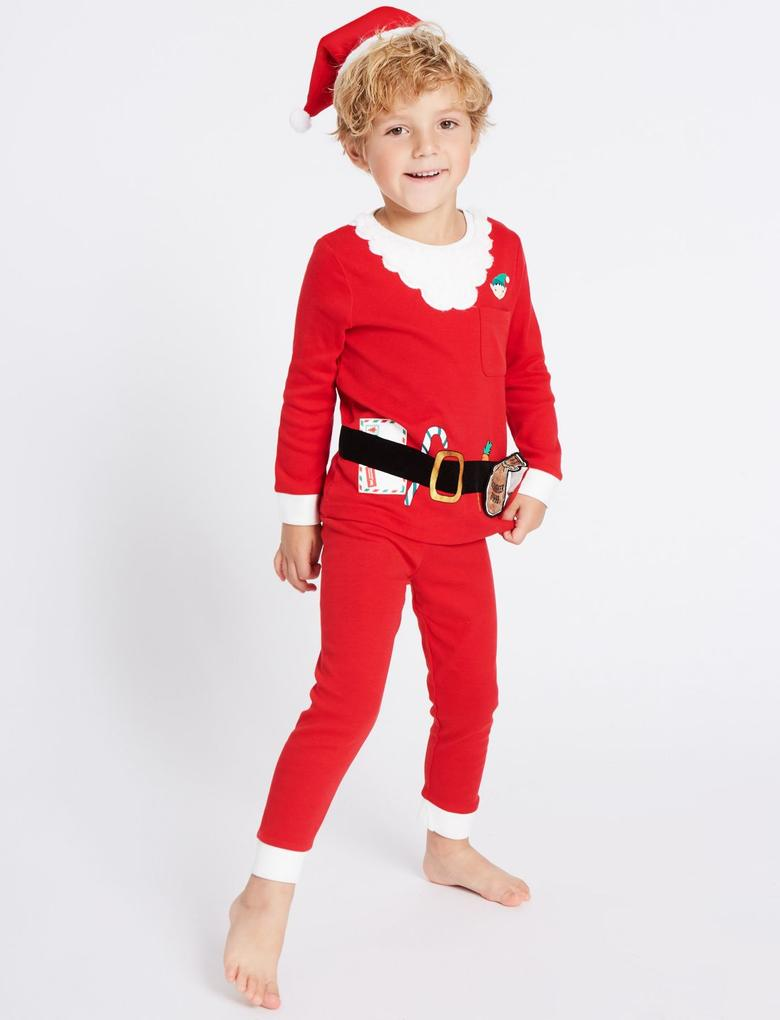 Pamuklu Noel Baba Pijama Takımı (9 Ay - 8 Yaş)