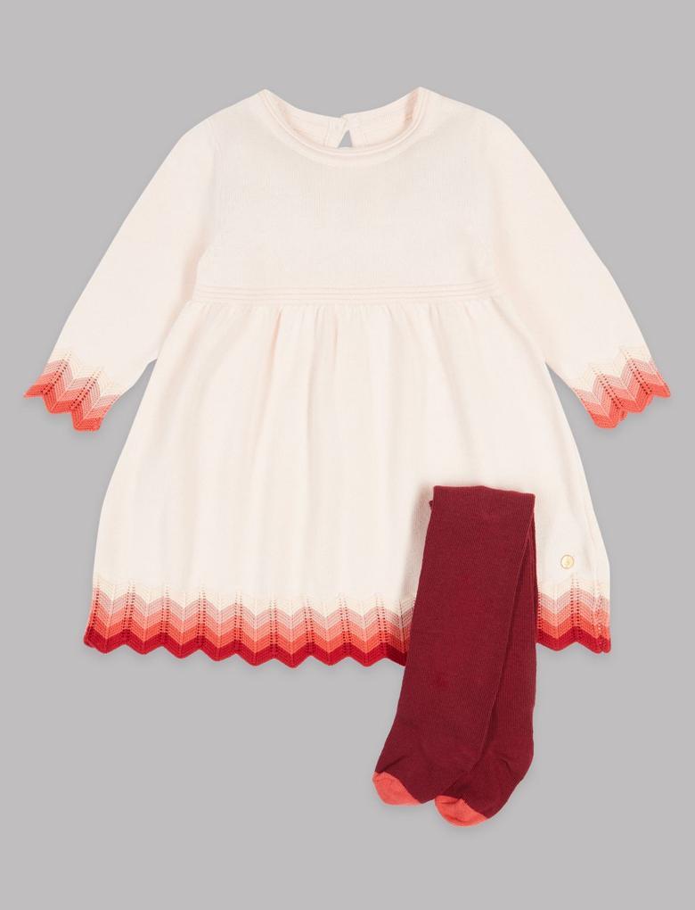 2 Parça Intarsia Örgü Elbise ve Külotlu Çorap Takımı