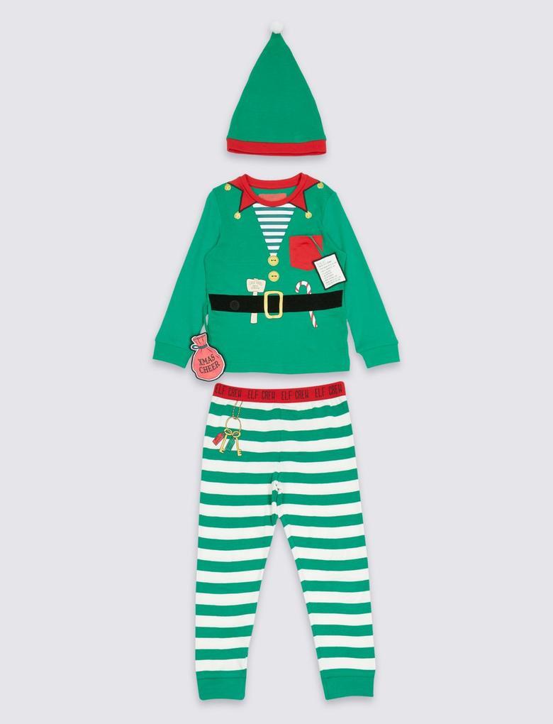 Saf Pamuklu Elf Pijama Takımı (Şapkası ile Bereaber) (9 Ay - 8 Yaş)