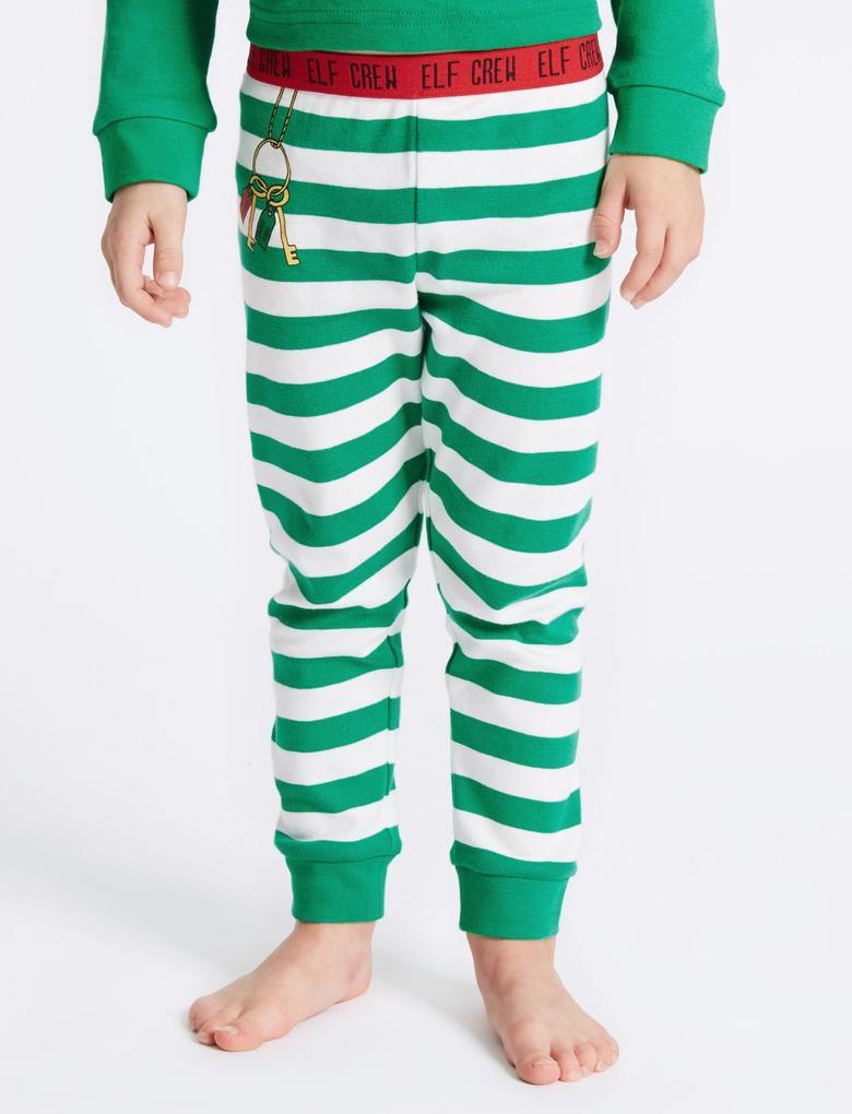 Yeşil Saf Pamuklu Elf Pijama Takımı (Şapkası ile Bereaber) (9 Ay - 8 Yaş)