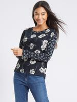 Lacivert Desenli Uzun Kollu Sweatshirt