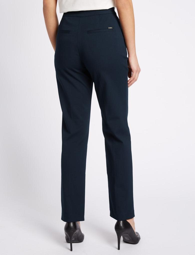 Lacivert Fermuar Cepli Straight Pantolon