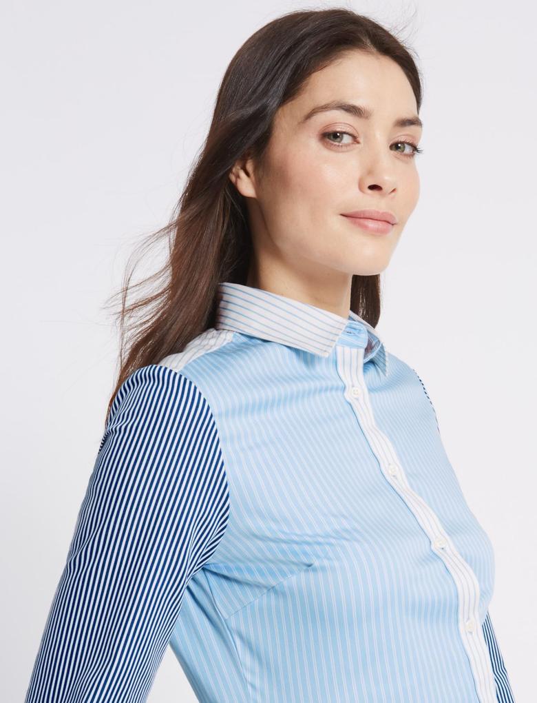 Mavi Pamuklu Kontrast Renkli Gömlek