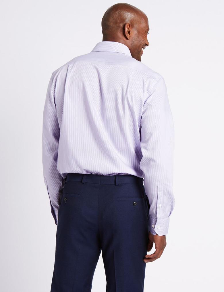 Pembe Saf Pamuklu Ütü Gerektirmeyen Cepli Gömlek