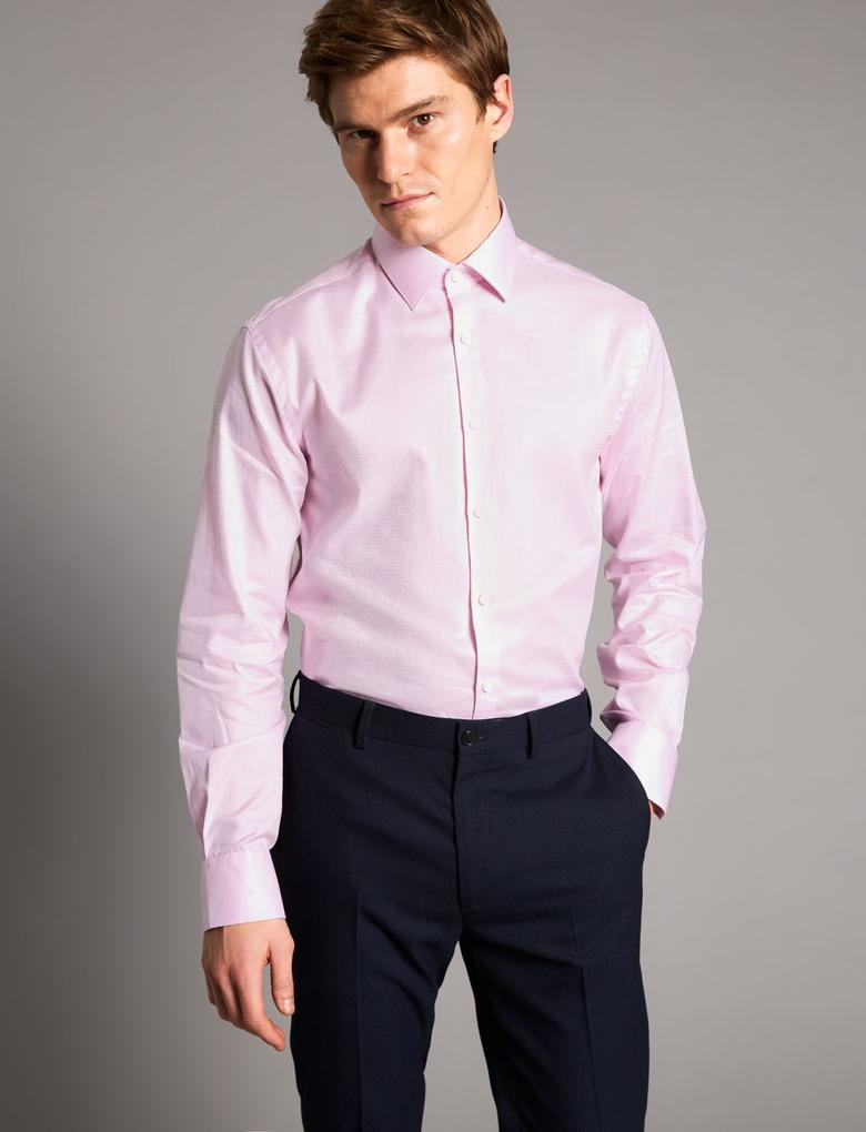 Pembe Saf Pamuklu Tailored Fit Gömlek