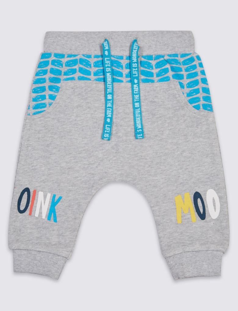 Saf Pamuklu Bebek Jogger Pantolon