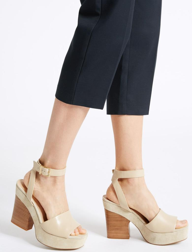 Lacivert Cropped Slim Leg Trousers
