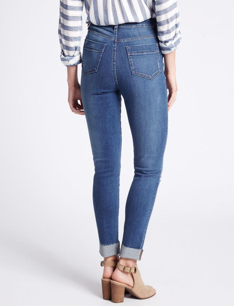 Orta Belli Kıvrık Paça Skinny Jean Pantolon