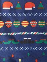 Lacivert Yılbaşı Motifleri Desenli Kravat