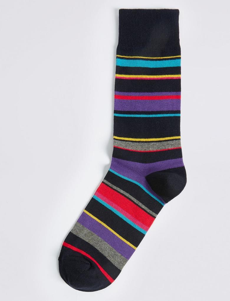 Pamuklu Renkli Çizgili Çorap