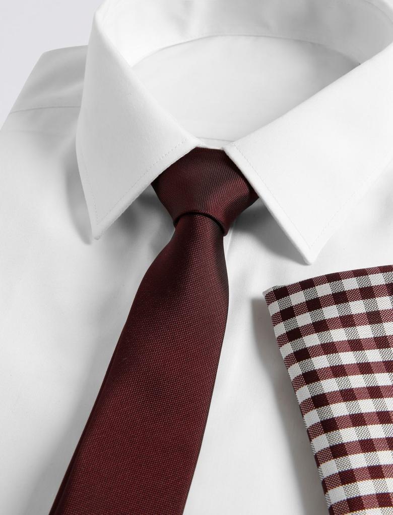 Kırmızı Kravat ve Cep Mendili Seti