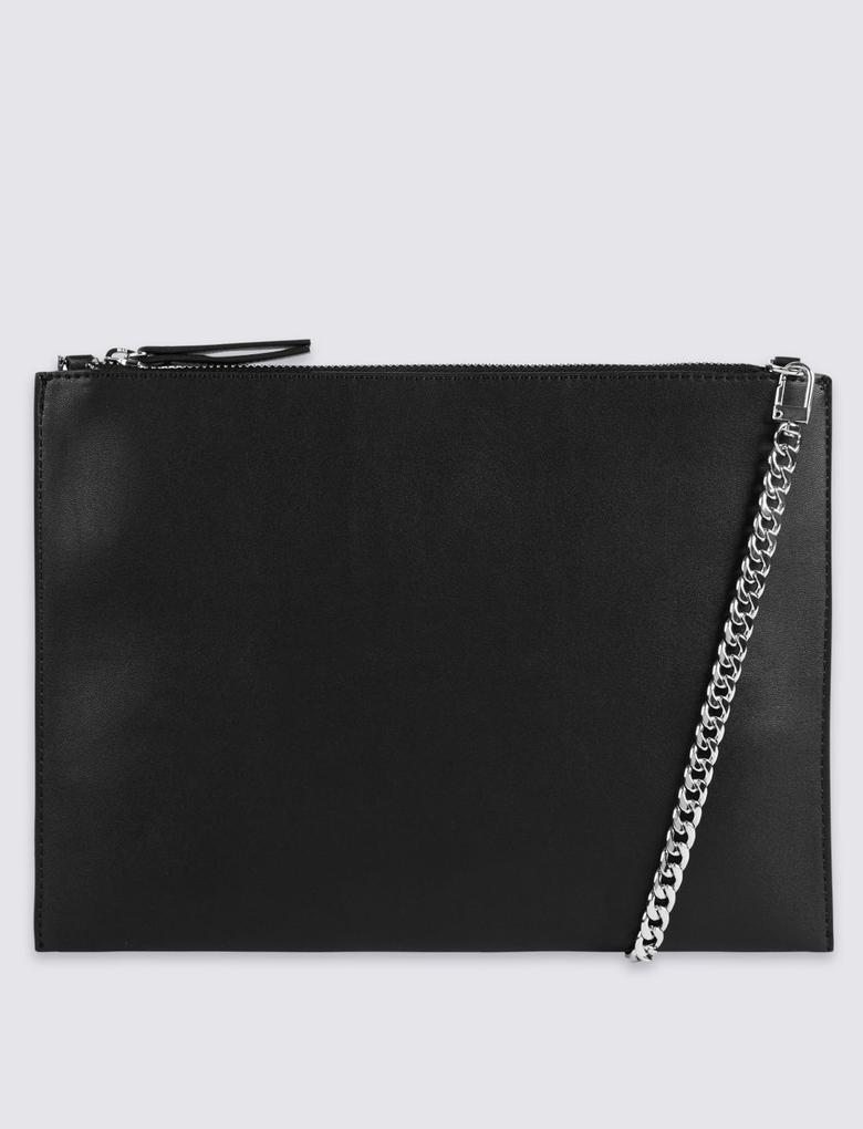 Siyah Deri Görünümlü Zincir Askılı Çanta