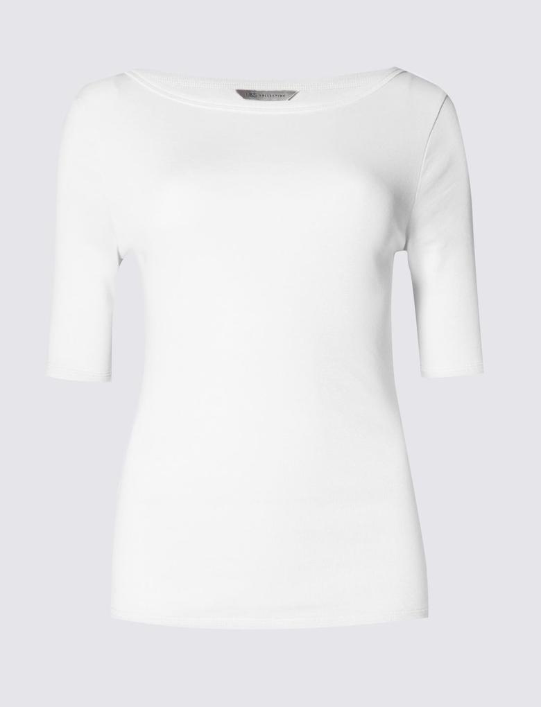 Saf Pamuklu Kayık Yaka T-Shirt