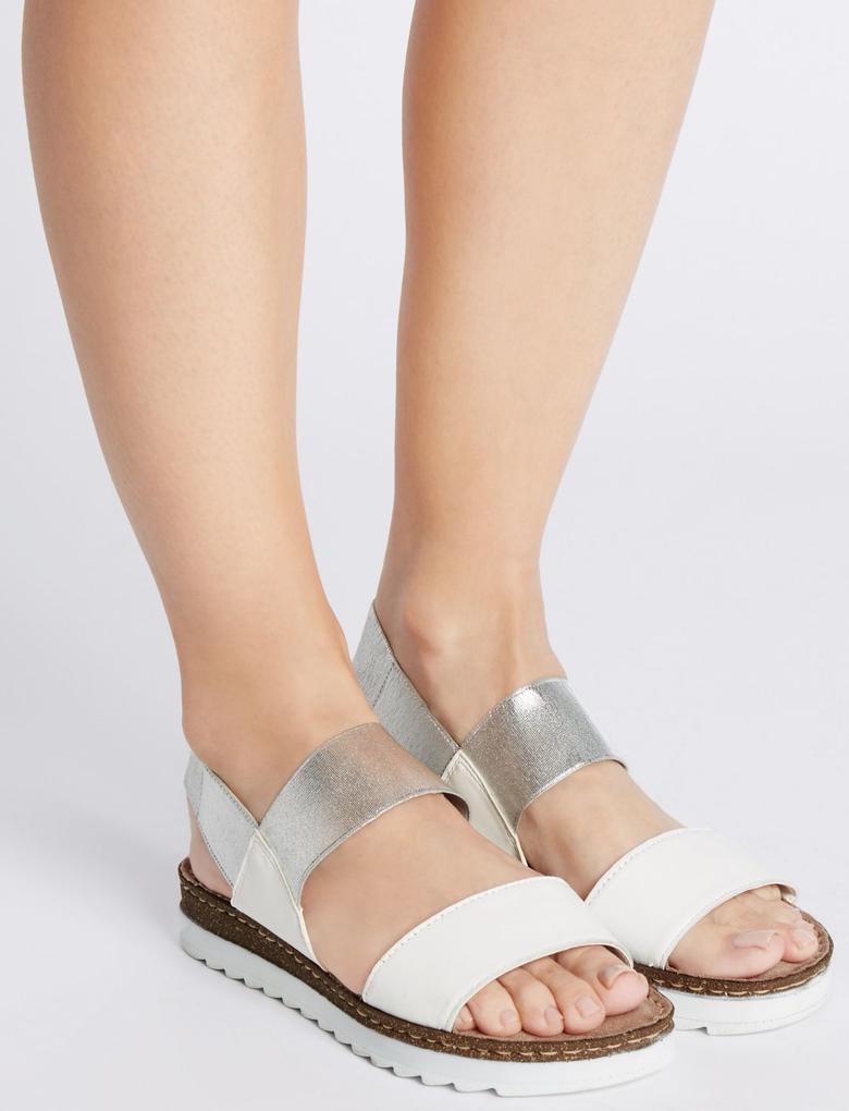 Beyaz Çift Bantlı Deri Açık Ayakkabı