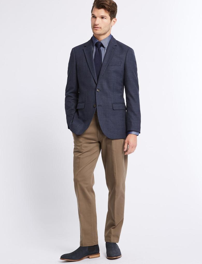 Renksiz Pamuklu Slim Fit Streç Chino Pantolon