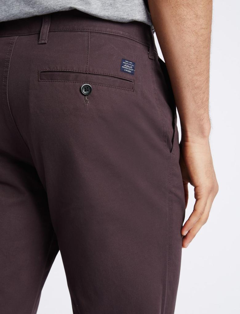 Saf Pamuklu Slim Fit Chino Pantolon