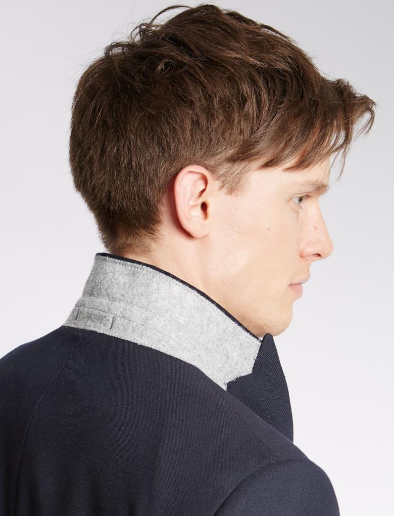 Yün Karışımlı Modern Slim 2 Düğmeli Hopsack Ceket
