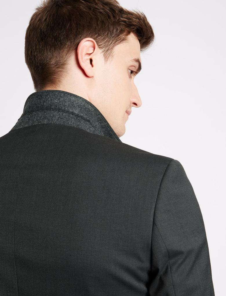 Gri Kömür Rengi Modern Slim Ceket