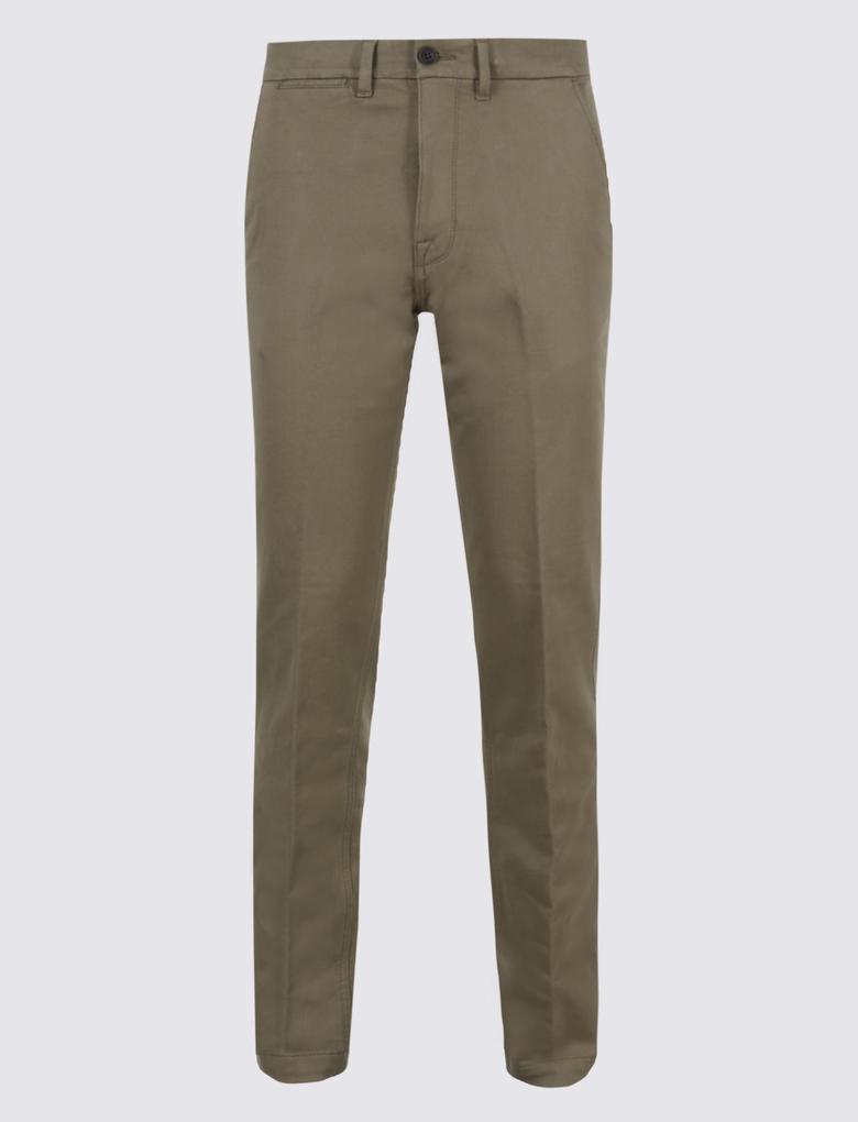 Pamuklu Slim Fit Streç Chino Pantolon