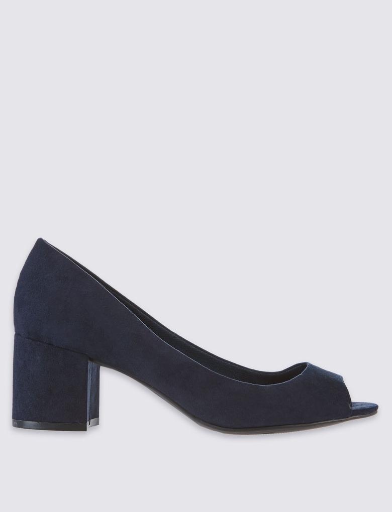 Siyah Topuklu Açık Burunlu Ayakkabı (Insolia® Teknolojisi ile)