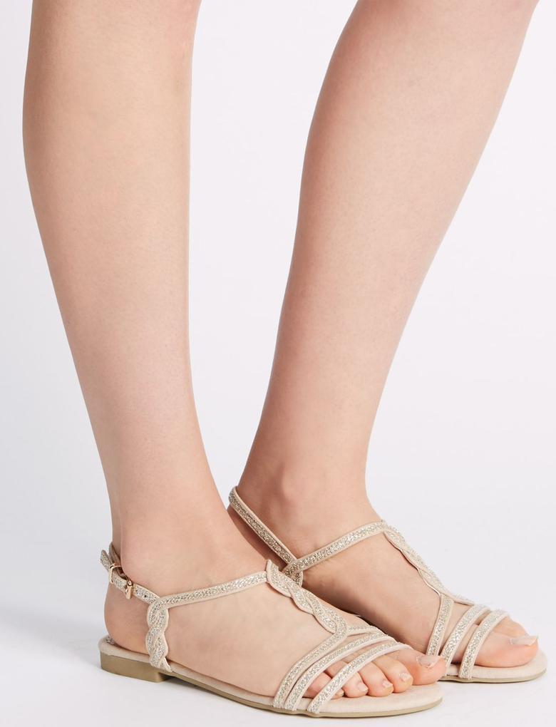 Metalik Burgulu Açık Ayakkabı (Insolia® Teknolojisi ile)