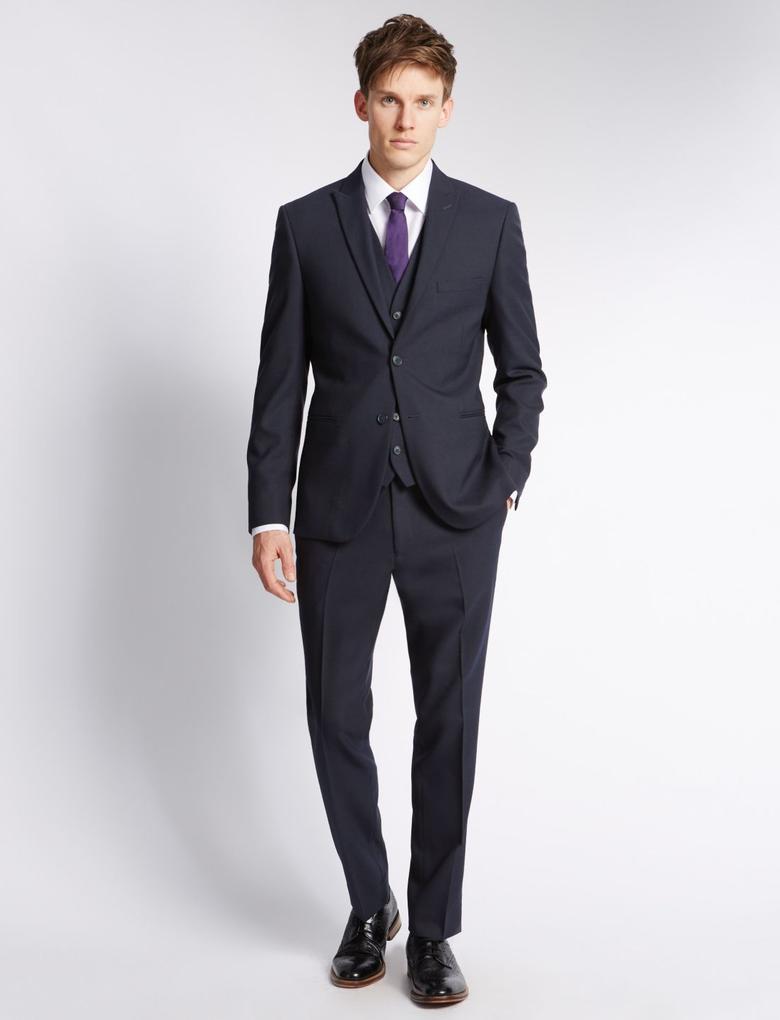 Yün Karışımlı Modern Slim Pilesiz Pantolon