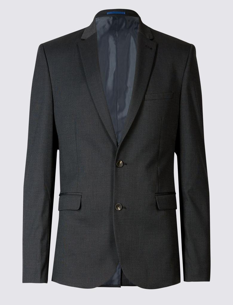Kömür Rengi Modern Slim Ceket