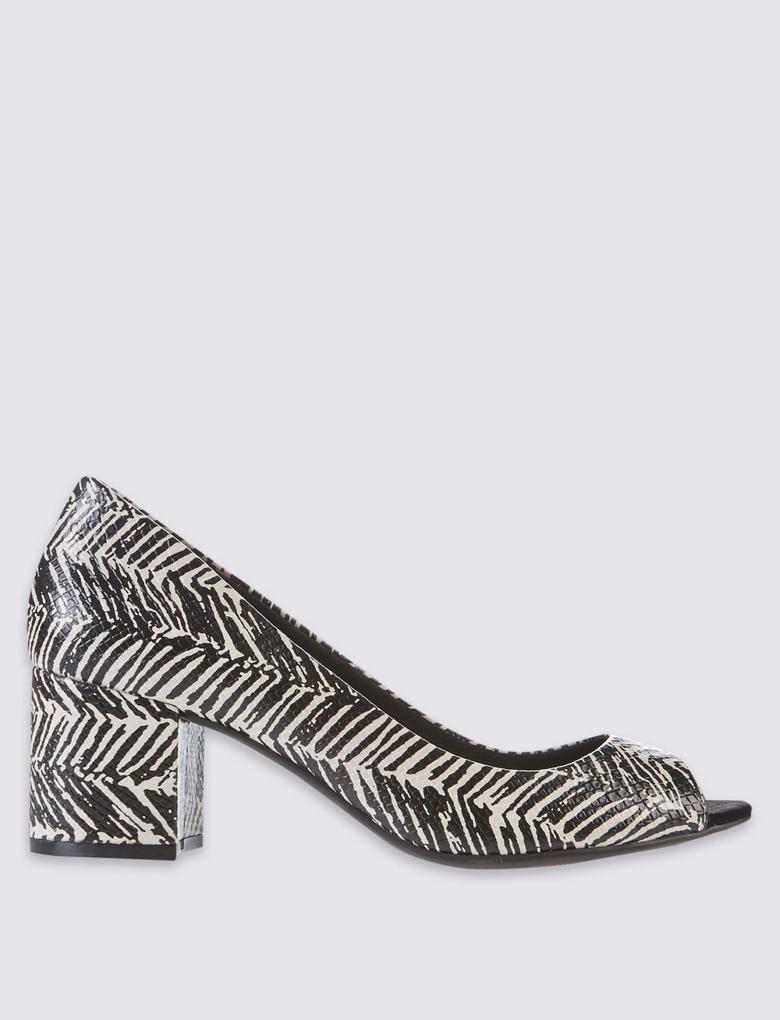 Siyah Siyah Topuklu Açık Burunlu Ayakkabı (Insolia® Teknolojisi ile)