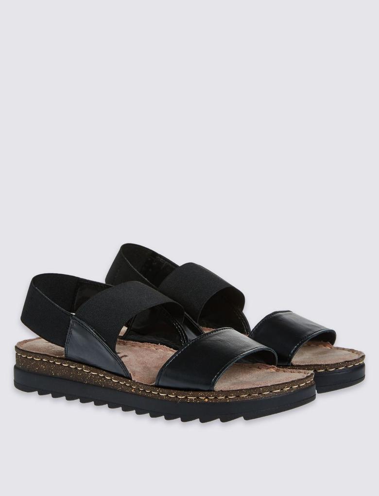 Çift Bantlı Deri Açık Ayakkabı