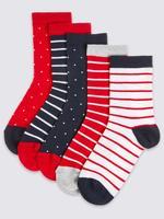 5'li Benekli ve Çizgili Çorap