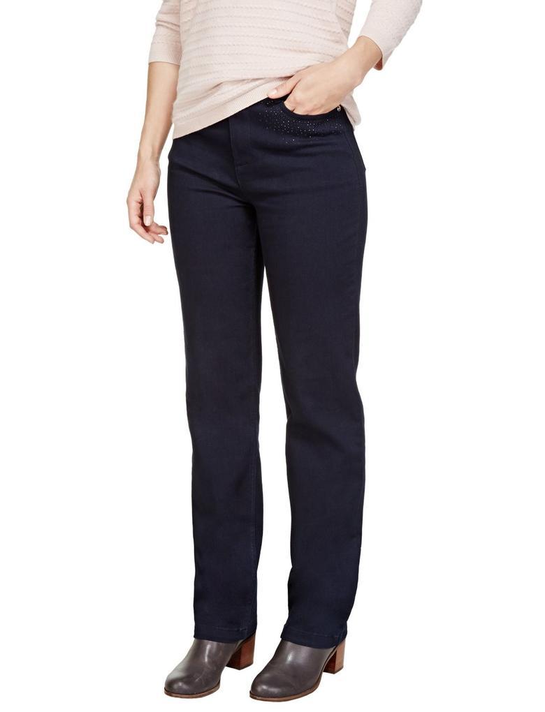 Straight Leg Taş Detaylı Jean Pantolon