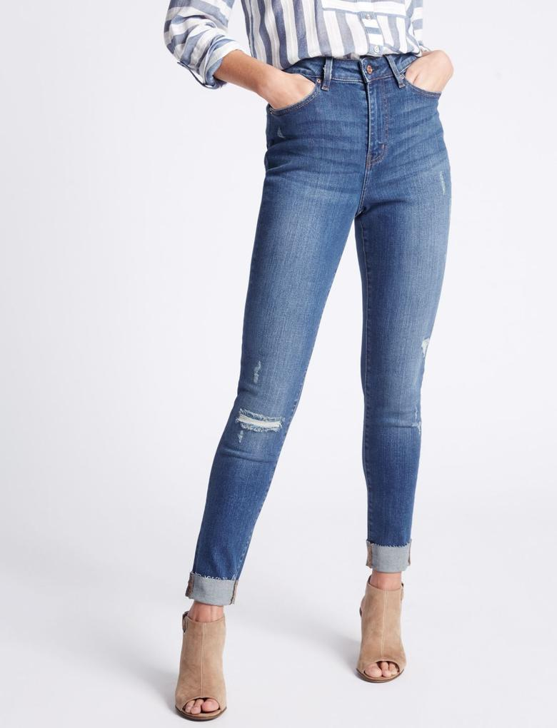 Mor Orta Belli Kıvrık Paça Skinny Jean Pantolon