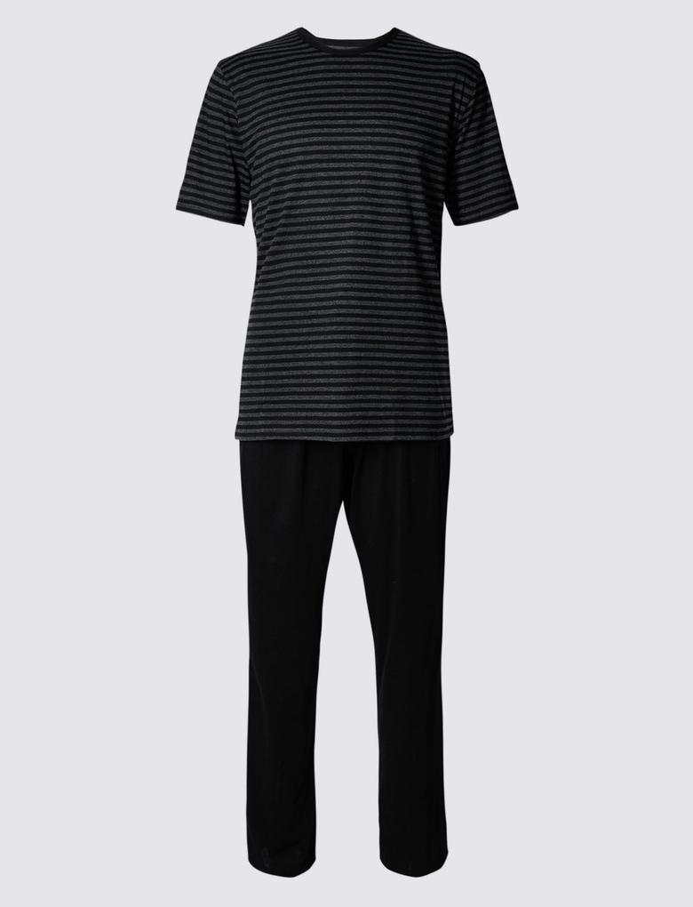 Pamuklu Çizgili Pijama Takımı