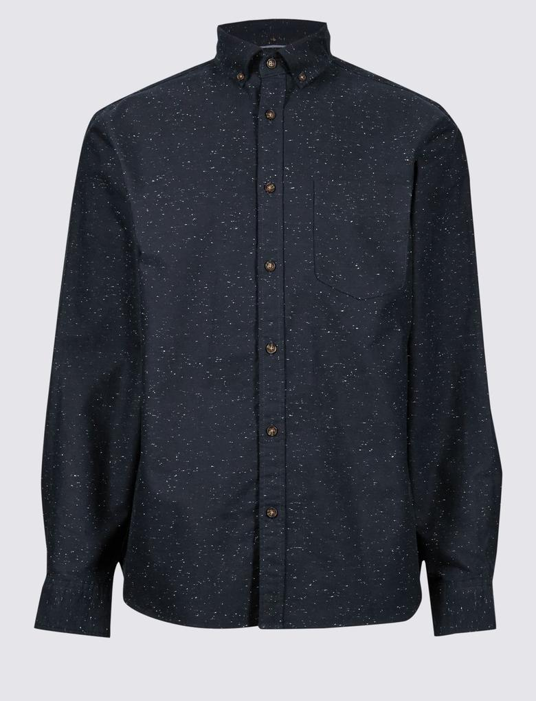 Pamuklu Cepli Oxford Gömlek