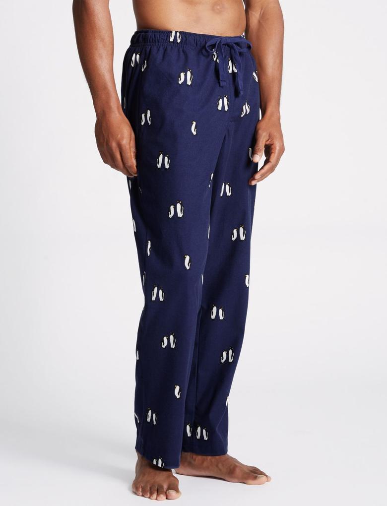 Lacivert Desenli Yumuşak Kumaşlı Pijama Altı