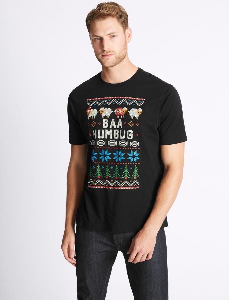 Saf Pamuklu Sıfır Yaka Müzikli T-Shirt