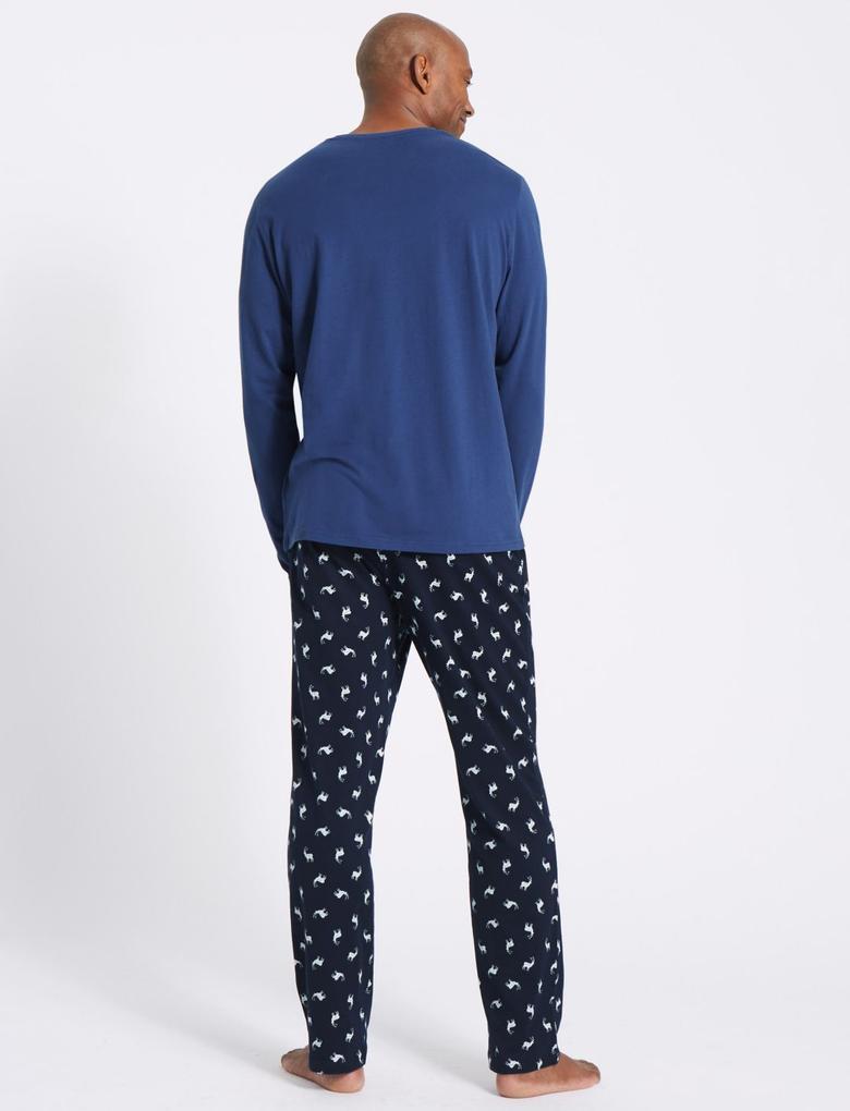 Lacivert Saf Pamuklu Desenli Pijama Takımı