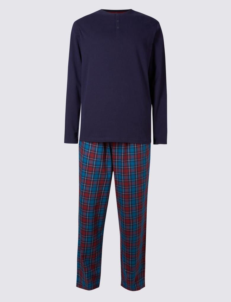 Mor Saf Pamuklu Kareli Pijama Takımı