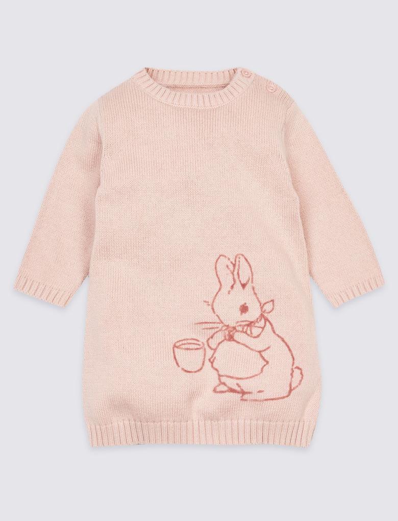 Pembe 2 Parça Peter Rabbit™ Elbise ve Külotlu Çorap Takımı