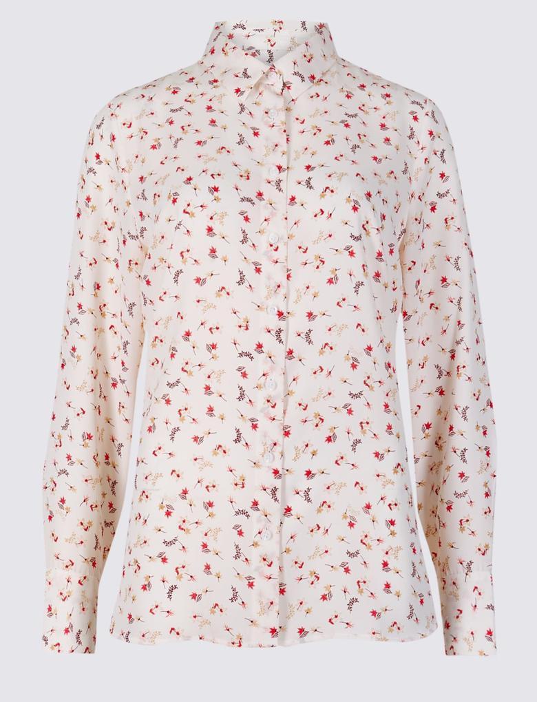 Kadın Krem Çiçek Desenli Uzun Kollu Gömlek